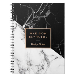 Stylish Black White Marble Texture Designer Notes Spiral Notebook