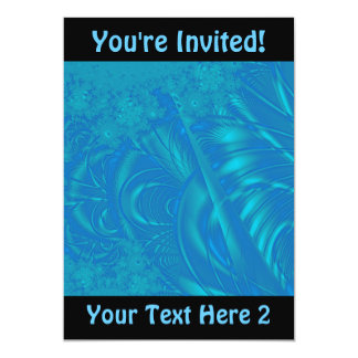 Stylish Blue Abstract Pattern. Fractal Art. Card