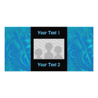 Stylish Blue Abstract Pattern. Fractal Art. Photo Cards