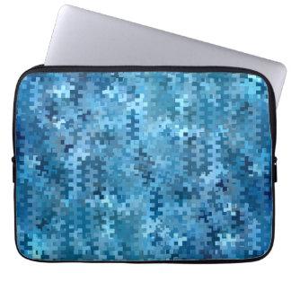 Stylish Blue and Black Pattern Laptop Computer Sleeve