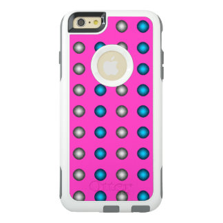 Stylish Blue and Silver Polka Dot on Hot Pink OtterBox iPhone 6/6s Plus Case