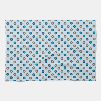 Stylish Blue and Silver Polka Dot Pattern Tea Towel