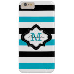 Stylish Blue Black White Stripes Custom Monogram Barely There iPhone 6 Plus Case