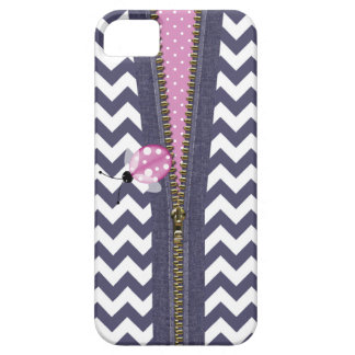 Stylish Blue Chevron With Zipper & Pink Ladybug Case For The iPhone 5