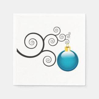 Stylish Blue Christmas Ornament Paper Napkins