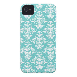 Stylish blue damask vintage trendy pattern elegant iPhone 4 cases