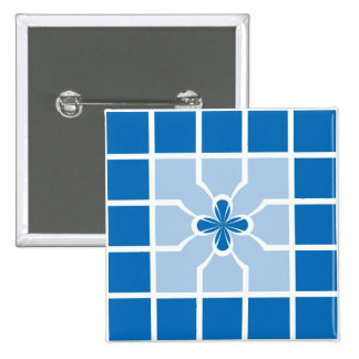 Stylish Blue Geometric Squares Quatrefoil Center 15 Cm Square Badge