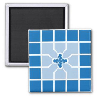 Stylish Blue Geometric Squares Quatrefoil Center Refrigerator Magnet