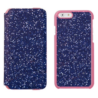 Stylish Blue Glitter Incipio Watson™ iPhone 6 Wallet Case