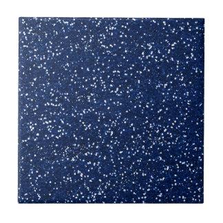 Stylish Blue Glitter Small Square Tile