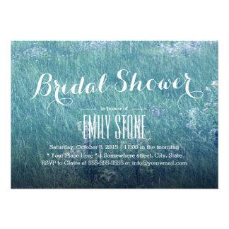 Stylish Blue Grass Field Bridal Shower Cards