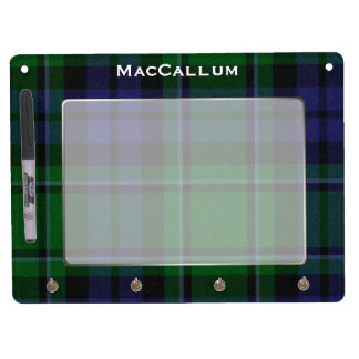 Stylish Blue & Green MacCallum Tartan Plaid Custom Dry Erase Board With Key Ring Holder