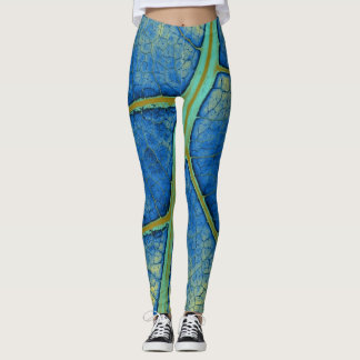 Stylish Blue Leaf Leggings