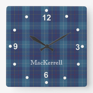 Stylish Blue MacKerrell Tartan Plaid Clock