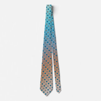Stylish Blue & Silver Polka Dots on Blue & Orange Tie