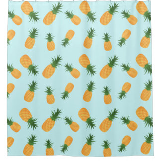 Stylish Blue Tropical Citrus Hawaiian Pineapples Shower Curtain