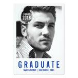 Stylish Blue White Modern Photo Graduate Invite