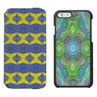 stylish blue yellow vertical pattern incipio watson™ iPhone 6 wallet case