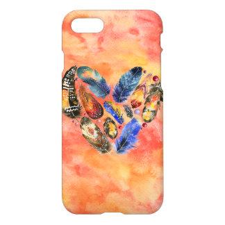 Stylish Boho Feather Heart iPhone 7 Case