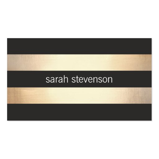 Stylish Bold Gold and Black Striped Modern Business Card Templates