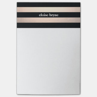 Stylish Bold Rose Gold and Black Striped Modern Post-it Notes