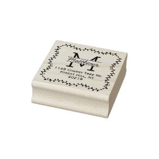 Stylish Botanical Border Custom Monogram Rubber Stamp