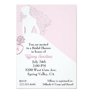 "Stylish Bride in Veil Bridal Shower Invitation 5"" X 7"" Invitation Card"