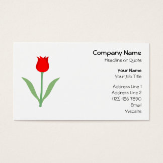 Stylish Bright Red Tulip. Business Card