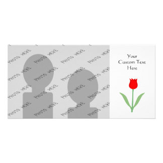 Stylish Bright Red Tulip. Picture Card