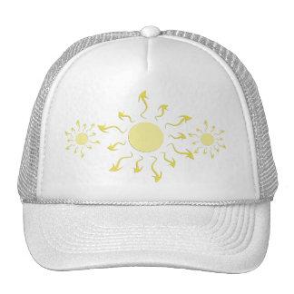 Stylish Bright Yellow Sun Design Mesh Hat