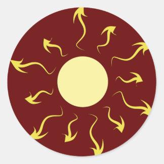 Stylish Bright Yellow Sun Design Round Sticker