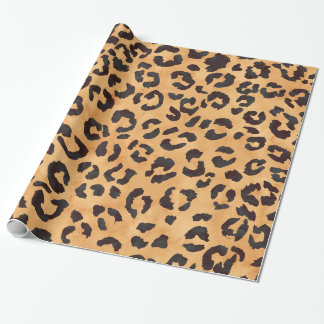 Stylish brown beige watercolor leopard pattern wrapping paper