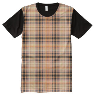 Stylish brown checkered Pattern All-Over Print T-Shirt