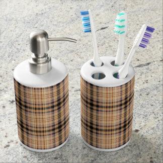 Stylish brown checkered Pattern Toothbrush Holder