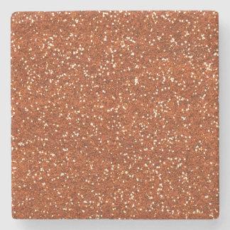 Stylish Brown Glitter Stone Beverage Coaster