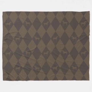 Stylish Brown Harleqiun Horse Pattern Fleece Blanket