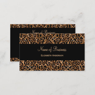 Leopard print business cards zazzle uk stylish brown leopard print luxury animal pattern business card reheart Image collections