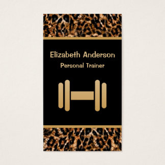 Stylish Brown Leopard Print Personal Trainer Business Card