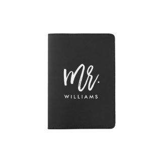 "Stylish Brush Script ""Mr Last Name"" Passport Holder"