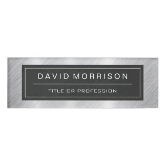 Stylish Brushed Metallic Silver Professional Look Name Tag