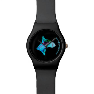 Stylish Bull Terrier watercolor silhouette watch