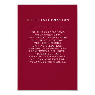 Stylish Burgundy Wedding Guest Information Card