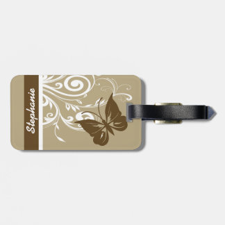 Stylish Butterfly and flourish swirls in chocolate Luggage Tag