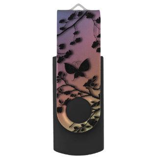 Stylish Butterfly on Rainbow Gradient Swivel USB 2.0 Flash Drive