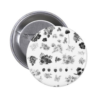 Stylish button with romance flowers
