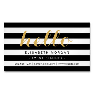 Stylish Calligraphy Say Hello Black White Stripes Magnetic Business Cards
