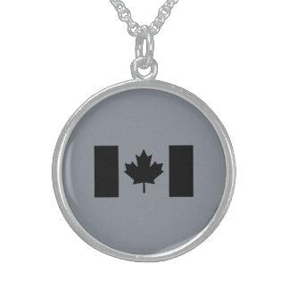 Stylish Canadian Flag in Black Round Pendant Necklace