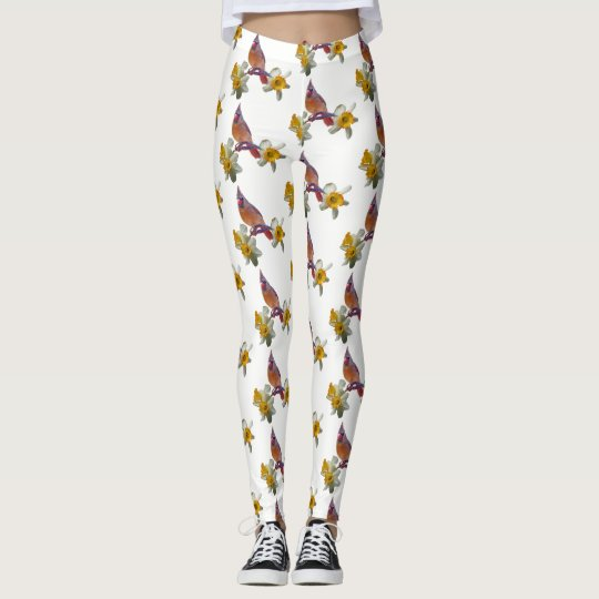 Stylish Cardinal And Flowers - Leggings