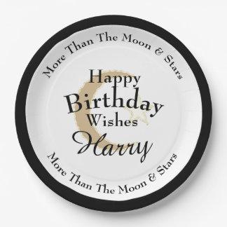Stylish-Celebration-Moon-Star-Monogram-Birthday Paper Plate