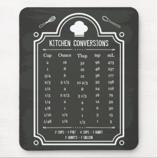 Stylish Chalkboard Kitchen Conversion Chart Mouse Pad